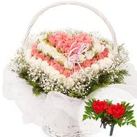 분홍백장미하트바구니